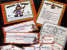 Halloween math centers with number line games and more!  Perfect for a Halloween math party!