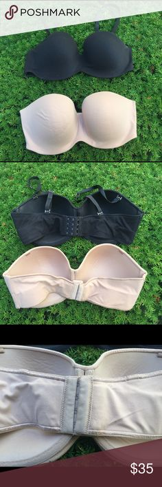 BLACK Victoria's Secret Lined TRAPLESS Bra Two neutral Victoria's Secret Body by Victoria strapless bras that would be a great add to any wardrobe. They are 38DD. Materials: 84% Nylon 16% Spandex. The tan bra doesn't have straps that I've found however I do have a clear set of straps that can be used. Victoria's Secret Intimates & Sleepwear Bras