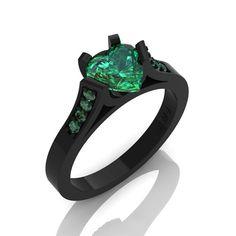 Gorgeous 14K Black Gold 1.0 Ct Heart Emerald Modern Wedding Ring, Engagement Ring for Women R663-14KBGEM $1279