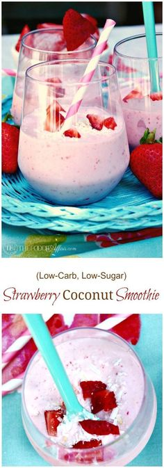 This Strawberry Coconut Smoothie is a low carb and low sugar drink with made with full-fat coconut milk, strawberries, vanilla extract, and a scoop of protein powder. This smoothie is an excellent breakfast, snack, pre or post workout keto beverage!