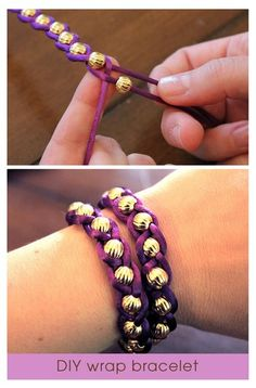 DIY Embellished Wrap Bracelets    You'll need:    3 yards of silk ribbon cord. I got mine (purple, of course) at JoAnn's in the trim section.  2 dozen 8mm gold beads. My beads came from Dee's but you can find beads with a similar size opening at JoAnn's, Hobby Lobby or Michaels. If you can't find them there, these are very similar.  Cut t