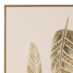 Toile rose clair motifs plumes dorées 60x60   Maisons du Monde