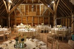 Decorated Barn #Table #Centres #Wedding #Reception