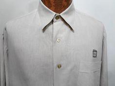 Ben Hogan Mens L Beige Linen & Cotton Long-Sleeve Button-Down Shirt  #BenHogan #ButtonFront