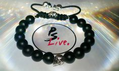 Silver Skull and 8mm black matte onyx bead bracelet