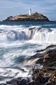 Photographic Print: Godrevy Lighthouse in Large Waves, Cornwall,UK by David Clapp : Devon And Cornwall, Cornwall England, England Uk, Beautiful World, Beautiful Places, Places Around The World, Around The Worlds, St Just, Unique Buildings
