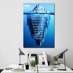 Work hard and every sweat you've made will definitely be worth it. Spend your time wisely and make sure to make the most of it. Let go of the mistakes of yesterday. Move on and do your very best today. Grab this tip of the iceberg success quote wall art now and hang it in your bedroom, living room, study room, or kitchen.