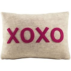 Alexandra Ferguson It Start With A Kiss XOXO Felt Throw Pillow (215 BRL) ❤ liked on Polyvore featuring home, home decor, throw pillows, pillows, embroidered throw pillows and lumbar throw pillow