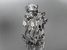Unique 14k white gold diamond floral wedding ring by anjaysdesigns, $950.00
