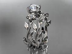 Unique 14kt  white gold diamond floral wedding ring, engagement set  ADLR238 via Etsy