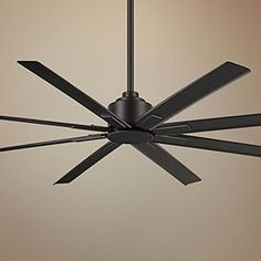 A wet ceiling fan featuring a coal finish motor and eight coal finish ABS blades. Eight coal finish ABS blades. Style # at Lamps Plus. Brass Ceiling Fan, Large Ceiling Fans, Industrial Ceiling Fan, Ceiling Fan Chandelier, White Ceiling Fan, Outdoor Ceiling Fans, Outside Ceiling Fans, Ceiling Lamps, Living Room Fans