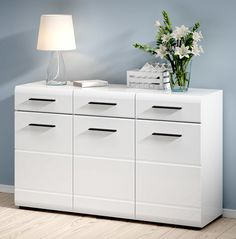 New HIGH GLOSS WHITE Cupboard | Modern Wide Cabinet 3 Doors 3 Drawers FEVER