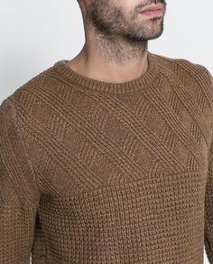 Zara Man structured knit with contrasting yoke Mens Fashion Sweaters, Sweater Fashion, Men Sweater, Xxxtentacion Hoodie, Pullover Mode, Winter Tops, Zara Man, Black Sweaters, Men Casual