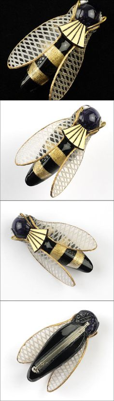 Pins and Brooches 50677: Cilea Paris Handmade Gold Black Stripes Cicada Insect Brooch Pin France Resin -> BUY IT NOW ONLY: $150 on eBay!
