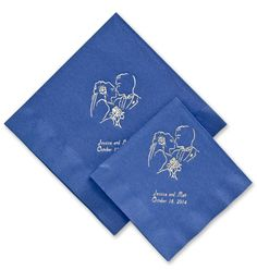 Sapphire Blue Luncheon & Beverage Napkins - available in many ink & foil colors with multiple design options.