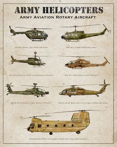 Army Aviation Helicopters archival print rotary by FlightsByNumber