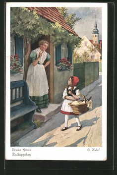 Künstler-AK Otto Kubel: die Mutter warnt das Rotkäppchen davor vom Wege…