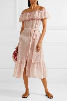 Lisa Marie Fernandez - Mira Off-the-shoulder Striped Cotton-voile Midi Dress - Pastel pink -