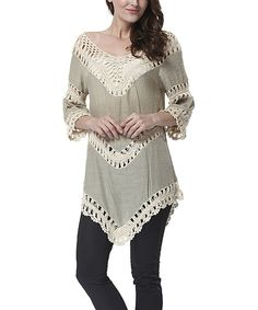 Look at this Simply Couture Mocha & Ivory Crochet Panel Tunic - Women on #zulily today!