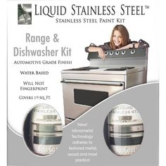 Liquid Stainless Steel Range/Dishwasher Kit – The easy and affordable way to DIY update kitchen appliances. The 100% Stainless Steel coating creates a professional looking finish with just a roller and brush!