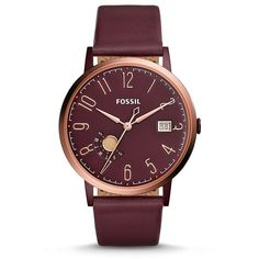 Fossil Vintage Muse Three-Hand Date Wine Leather Watch ($145) ❤ liked on Polyvore featuring jewelry, watches, fossil wrist watch, fossil jewelry, vintage jewelry, vintage jewellery and leather watches