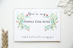 I Can't Wait To Marry You Wedding Card - On Your Wedding Day - To Bride or Groom - Illustrated Floral - You're My Happily Ever After