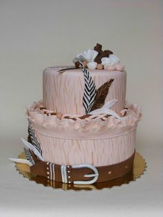 Pink Cake with Feathers.