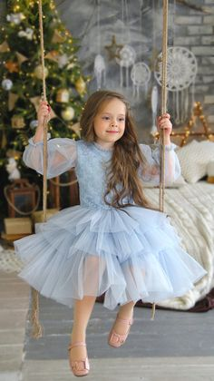 Lace Flower girl Dress tulle Long sleeve Dress Baptism Gown | Etsy Girls Pageant Dresses, Gowns For Girls, Flower Girl Dresses, 15 Dresses, Baby Tulle Dress, Little Girl Gowns, Dusty Blue Dress, Fairy Dress, Birthday Dresses