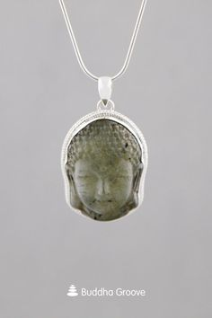 Labradorite Buddha Face Pendant with Sterling Silver Buddha Jewelry, Buddha Face, Jewelry Ideas, Labradorite, Carving, Pendants, Pendant Necklace, Sterling Silver, Clothing