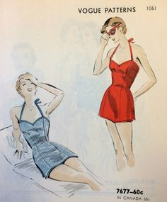 Vintage 1950s swimsuit sewing pattern illustration from Vogue Patterns. From our archives.