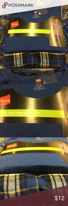 Hanes long sleeve crew& flannel pant set Brand new Hanes tables long sleeve crew & flannel pant set with original presentation on a hanger!  Obviously, never worn!  I believe it could be worn by a man or woman!  See size scale picture! Hanes Intimates & Sleepwear Pajamas