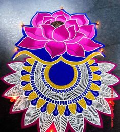 50 New Rangoli Designs (Rangoli Ideas) - October 2019 Rangoli Designs Latest, Simple Rangoli Designs Images, Rangoli Designs Flower, Colorful Rangoli Designs, Rangoli Designs Diwali, Diwali Rangoli, Simple Flower Rangoli, Simple Rangoli Kolam, Rangoli Ideas