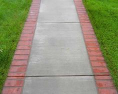 concrete with brick border Front Yard Walkway, Brick Driveway, Front Yard Decor, Outdoor Walkway, Concrete Walkway, Outdoor Landscaping, Front Yard Landscaping, Brick Border, Brick Edging