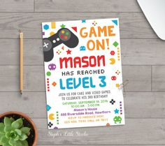 video game invitation, video game party invitations, video game birthday party, game on, boy birthday, pixel, gamer birthday, kids birthday by StephsLittleStudio
