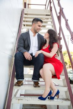 Newly engaged couple sit on fire escape steps by @camariephotos | Two Bright Lights :: Blog