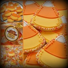 candy corn cookies /kristina/ Kilmer Albritton Webb we need to add these to our ideas for next years bake sale. Cookies Cupcake, Candy Corn Cookies, Iced Cookies, Cute Cookies, Royal Icing Cookies, Cupcakes, Making Cookies, Frosted Cookies, Thanksgiving Cookies