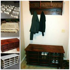 DIY Wood Pallet Entryway Bench Pallet Dog Beds, Diy Pallet Sofa, Pallet Furniture, Pallet Designs, Pallet Ideas, Pallet Projects, Pallet Crafts, House Projects, Diy Projects