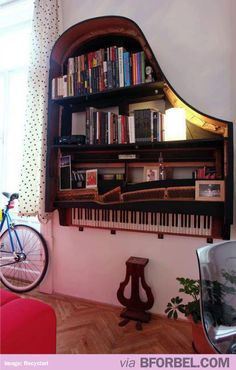 35 Creative DIY Projects To Repurpose And Upcycle Old Furniture Grand Piano Bookcase