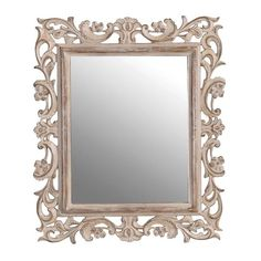 Ornate Carved Shabby Chic Wall Mirror - I have one just like it in Pewter. Shabby Chic Bedrooms, Chic Decor, Shabby Chic Decor, Shabby Chic Farmhouse, Furniture, Trending Decor, Shabby Chic Furniture Before And After, Shabby Chic Mirror Wall, Shabby Chic Furniture
