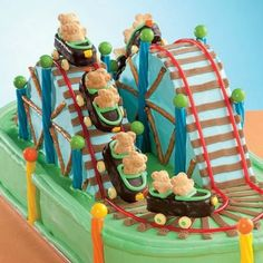 This cake turns licorice, gumballs and frosting into a fun roller coaster ride!