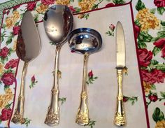 Royal Albert Old Country Roses 4 Piece Hostess by TheDrippingTap Gold Flatware, Cake Knife, Royal Doulton, Royal Albert, Hospitality, Roses, Country, Tableware, Dinnerware