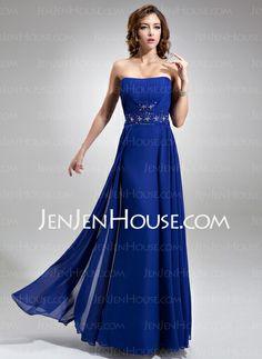 31665c4a1fb  US  119.99  A-Line Princess Strapless Floor-Length Chiffon Bridesmaid  Dress With Ruffle Beading Sequins - JenJenHouse