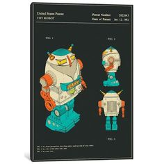 "East Urban Home 'Hiu Wong (Blue Box Toy Factory Limited) Toy Robot (""Silver Warrior"") Patent' Graphic Art Print on Canvas Size: 12"" H x 8"" W x 0.75"" D"