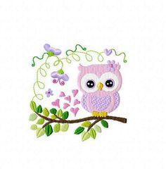 Stickdatei Eule Mara 10 x 10 Rahmen von Happystick auf DaWanda.com