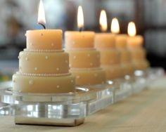 Hip Tip - Simple Bridal Shower Centerpiece (Mini Wedding Cake Candles)