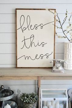 Hey, I found this really awesome Etsy listing at https://www.etsy.com/listing/386708586/bless-this-mess-painted-wood-sign-3ft-x