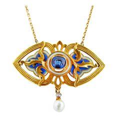 Gautrait 1900 'Art Nouveau' Pendant: Plique-à-jour Enamel with Sapphire