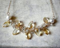 Collar lleno, Aquamarine y Citrino collar de hilo de oro ganchillo crochet oro