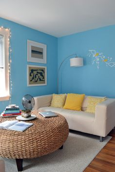 Melyssa & Ted's Colorful Carriage House blue walls are ACE Waterflow Chicago Furniture, Furniture Sale, Furniture Dolly, Cheap Furniture, Discount Furniture, Small Space Living, Living Spaces, Living Room, Palace