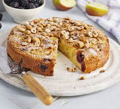 chilled dessert recipes, indian dessert recipes easy, easy christmas dessert recipes - Blackberry & Apple Cake: A moist fruit sponge, packed with the best seasonal produce with a touch of almond and cinnamon too Apple And Blackberry Cake, Blackberry Recipes, Apple Cake Recipes, Dessert Recipes, Apple Cakes, Food Cakes, Fruit Cakes, Bbc Good Food Recipes, Sweet Recipes